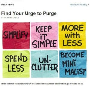 Clear physical clutter to clear mental clutter - USAA urge to purge